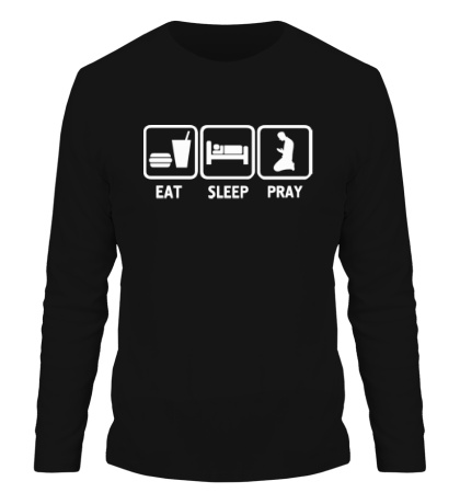 Мужской лонгслив Есть, спать и молиться