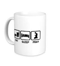 Керамическая кружка Есть, спать и молиться