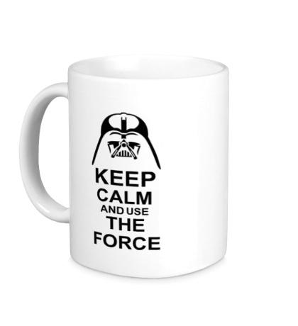 Керамическая кружка Keep calm and use the force