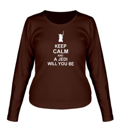 Женский лонгслив Keep calm and a jedi will you be