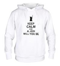 Толстовка с капюшоном Keep calm and a jedi will you be