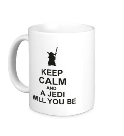 Керамическая кружка Keep calm and a jedi will you be