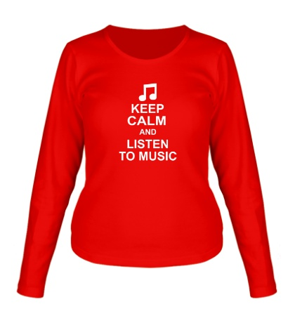 Женский лонгслив Keep calm and listen to music