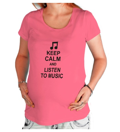 Футболка для беременной Keep calm and listen to music