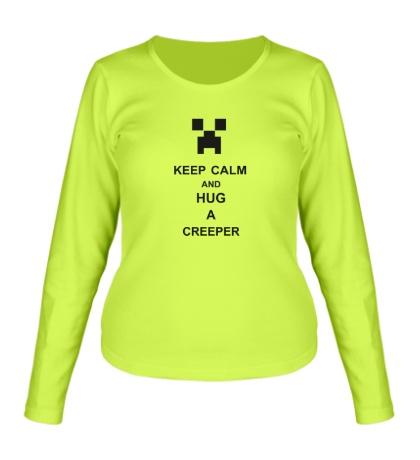 Женский лонгслив «Keep calm and hug a creeper»