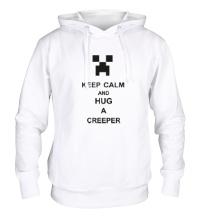 Толстовка с капюшоном Keep calm and hug a creeper