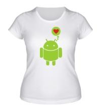 Женская футболка Андройд влюблен