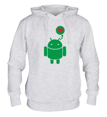 Толстовка с капюшоном «Андройд влюблен»