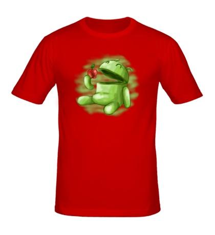 Мужская футболка «Android Eats Apple»