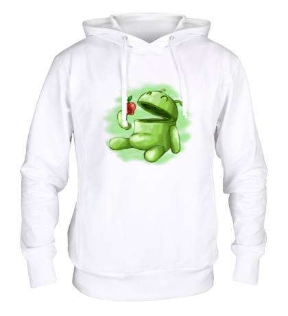 Толстовка с капюшоном Android Eats Apple