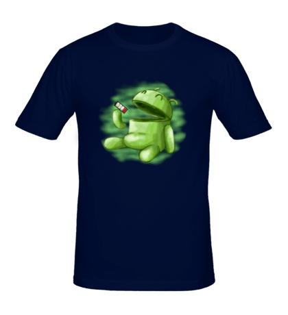 Мужская футболка Android Eats battery