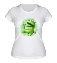 Женская футболка Android Eats battery