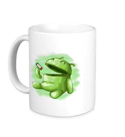 Керамическая кружка Android Eats battery