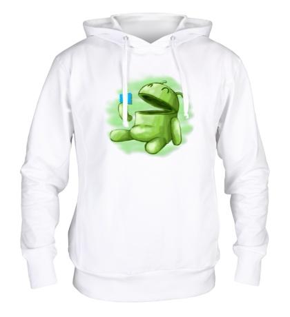 Толстовка с капюшоном Android Eats Windows