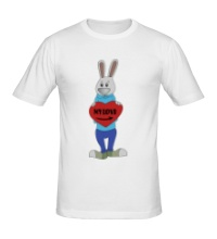 Мужская футболка Заяц: my love