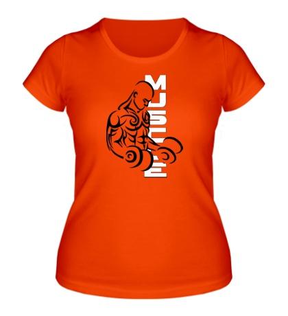 Женская футболка Бодибилдер с гантелями