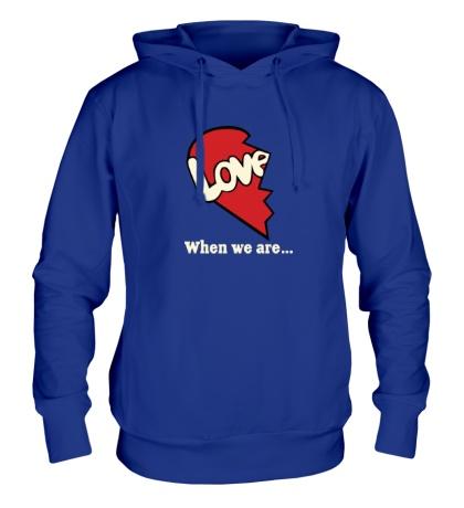Толстовка с капюшоном Love is парная