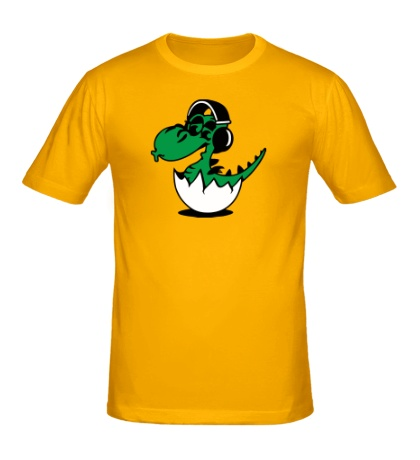 Мужская футболка Дракоша в наушниках