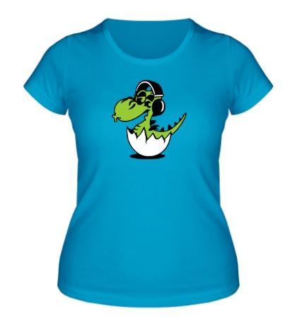 Женская футболка Дракоша в наушниках