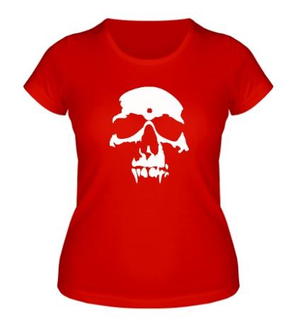 Женская футболка «Силуэт черепа»