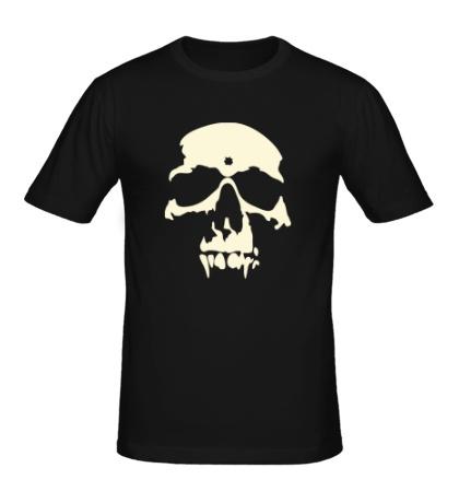 Мужская футболка «Силуэт черепа, свет»