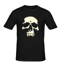 Мужская футболка Силуэт черепа, свет