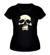 Женская футболка Силуэт черепа, свет