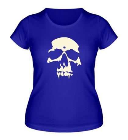 Женская футболка «Силуэт черепа, свет»