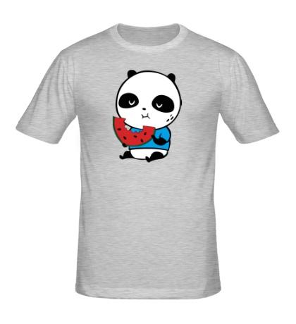 Мужская футболка Панда ест арбуз