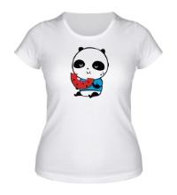 Женская футболка Панда ест арбуз
