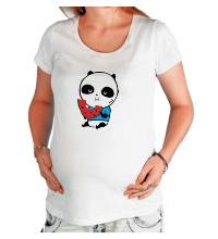 Футболка для беременной Панда ест арбуз