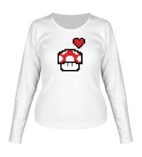 Женский лонгслив Влюбленный грибок из игры Марио