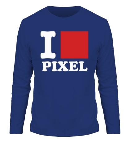 Мужской лонгслив I love pixel, я люблю пиксили
