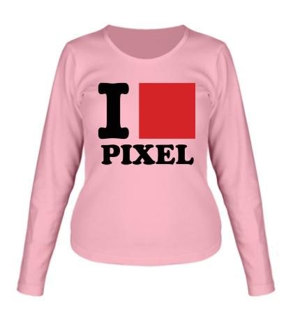 Женский лонгслив I love pixel, я люблю пиксили