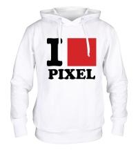 Толстовка с капюшоном I love pixel, я люблю пиксили