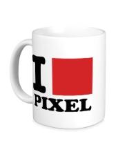 Керамическая кружка I love pixel, я люблю пиксили