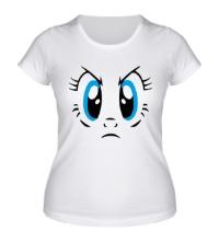 Женская футболка Недовольный смайлик, глаза