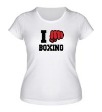Женская футболка I love boxing
