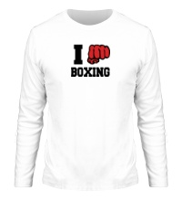 Мужской лонгслив I love boxing
