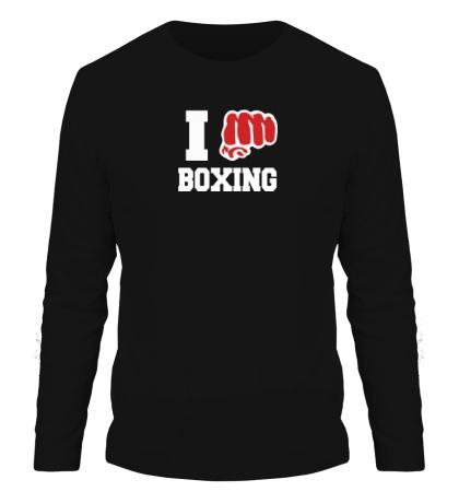 Мужской лонгслив I love boxing