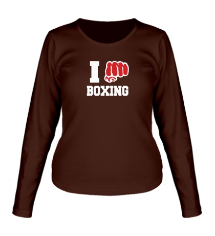 Женский лонгслив I love boxing