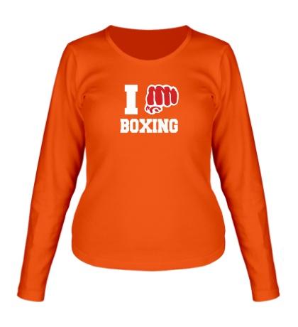 Женский лонгслив I love boxing