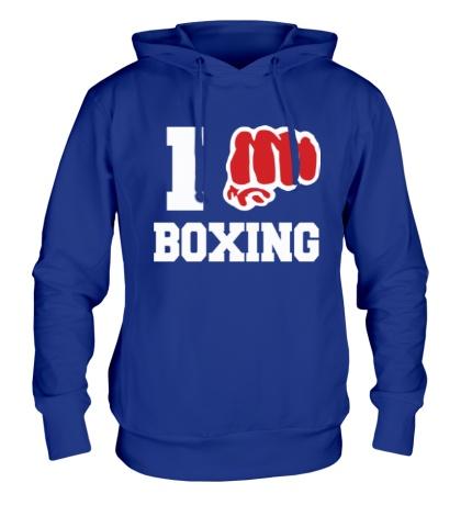 Толстовка с капюшоном I love boxing