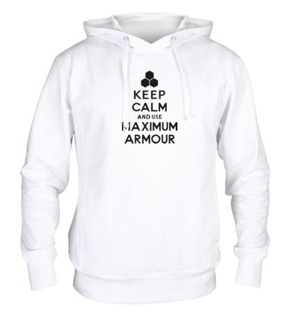 Толстовка с капюшоном Keep calm and use maximum armour