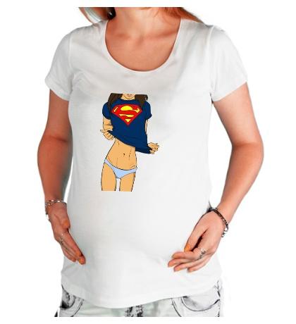 Футболка для беременной Девушка Супермен