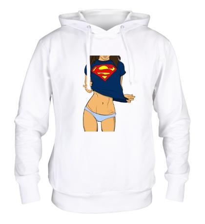 Толстовка с капюшоном Девушка Супермен