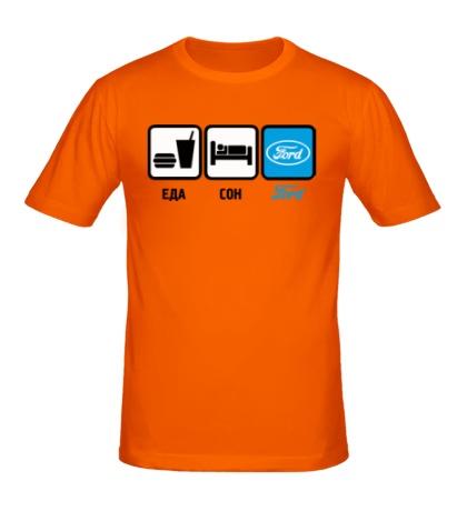 Мужская футболка Еда, сон и Ford