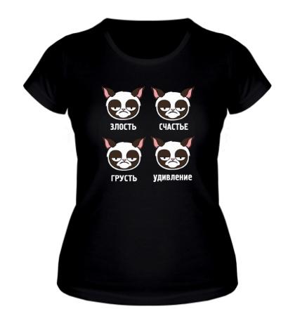 Женская футболка Эмоции грустного кота