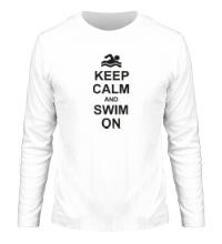 Мужской лонгслив Keep calm and swim on.