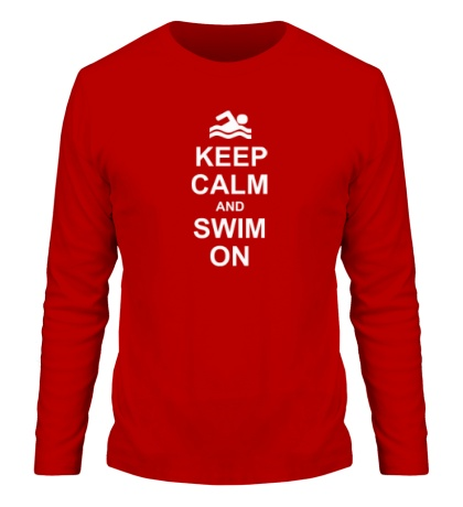 Мужской лонгслив «Keep calm and swim on.»